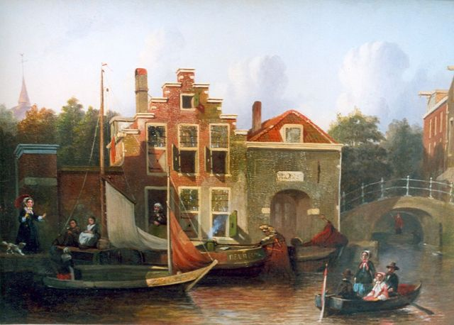 Joseph Bles | Shipping in a city canal, oil on panel, 27.0 x 38.5 cm, signed l.l.