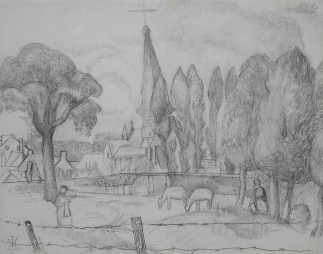 Herman Kruyder | A Limburg landscape with a church tower, pencil on paper, 26.0 x 32.8 cm, signed l.l. with monogram and painted in 1923-1927