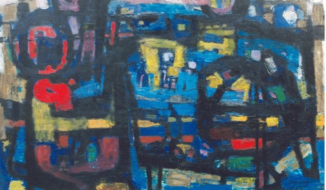 Jan Battermann | Composition '65, oil on panel, 121.0 x 200.0 cm, signed l.r. and dated '65