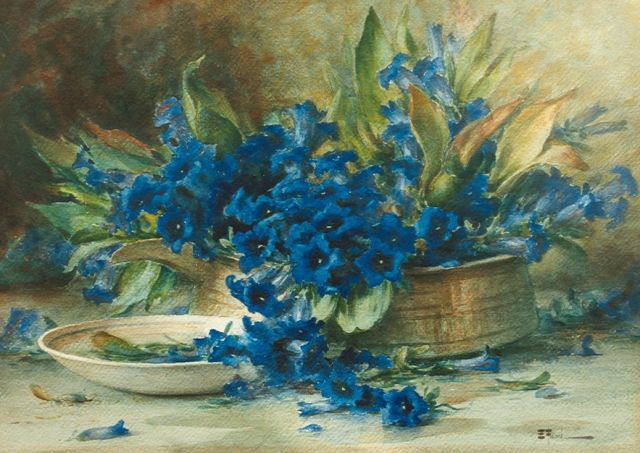Ernest Filliard | Gentians, watercolour on paper, 40.0 x 57.0 cm, signed l.r.
