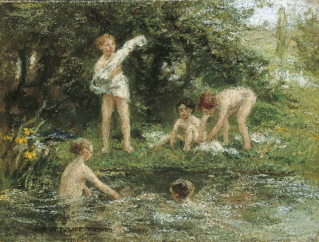 Zoetelief Tromp J.  | Swimming in the creek, oil on canvas 30.5 x 40.5 cm, signed l.l.