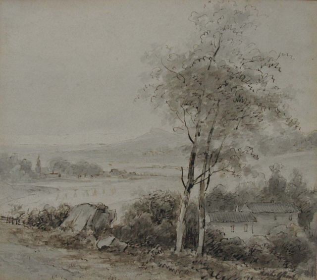 Andreas Schelfhout | A panoramic landscape, pen and ink on paper, 18.6 x 21.2 cm, signed l.r.