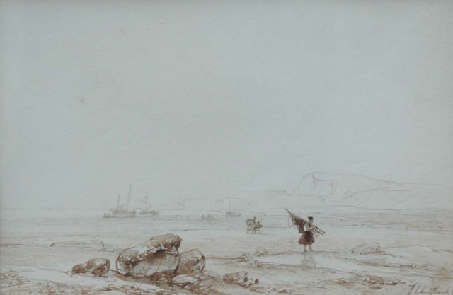Andreas Schelfhout | Low tide, North France, pencil, brush in brown ink and watercolour on paper, 16.5 x 24.0 cm, signed l.r.