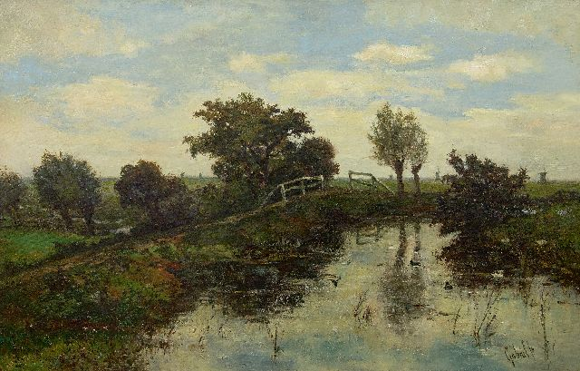 Paul Joseph Constantin Gabriel | Dutch polder landscape, oil on canvas, 63.6 x 97.7 cm, signed l.r.