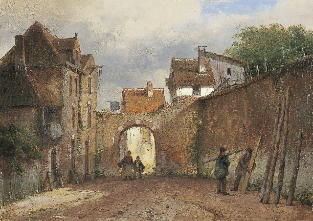 Andreas Schelfhout | Figures in a town, oil on panel, 20.2 x 28.5 cm, signed l.r. and dated 1867