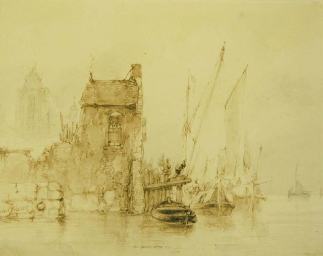 Andreas Schelfhout | Moored shipping, brush in brown ink on paper, 15.0 x 18.5 cm, signed l.l.