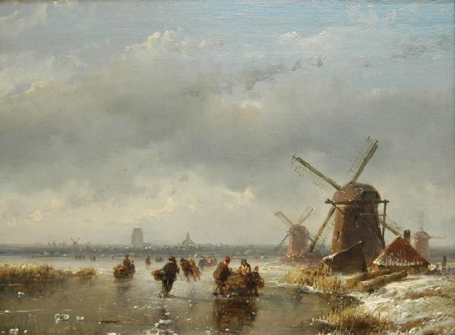 Andreas Schelfhout | Skaters and a sledge on a frozen waterway, oil on panel, 16.9 x 22.4 cm, signed l.l.