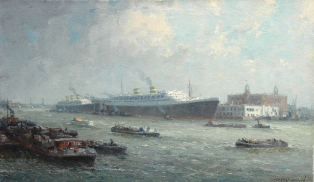 Gerard Delfgaauw | The 'Holland Amerika Lijn', oil on canvas, 59.8 x 100.0 cm, signed l.r.