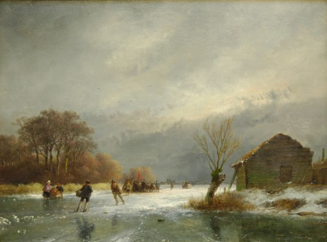 Andreas Schelfhout | A frozen river with skaters and a 'koek-en-zopie', oil on panel, 21.8 x 29.0 cm, signed l.r. and dated '57