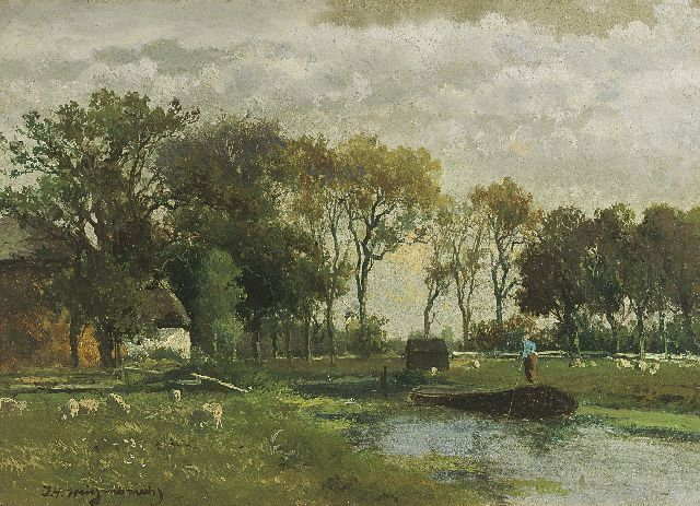 Jan Hendrik Weissenbruch | A polder landscape, oil on canvas, 24.9 x 34.2 cm, signed l.l. in full and with initials