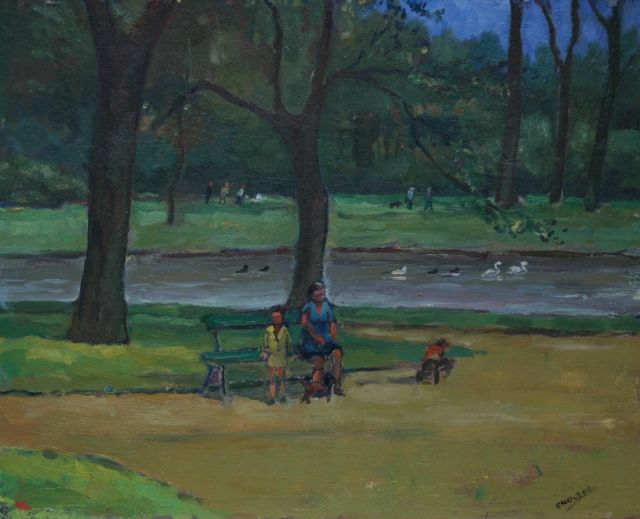 Cor Noltee | Mother with children in a park, oil on painter's board, 38.1 x 47.0 cm, signed l.r.