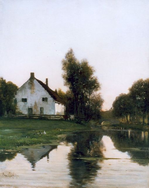 Louis Apol | A farm along a canal in spring, oil on canvas, 39.9 x 32.5 cm, signed l.l.