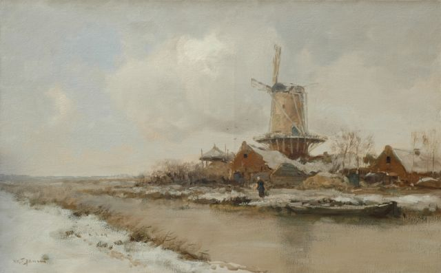 Willem George Frederik Jansen | A tower mill in a polder landscape, oil on canvas, 63.8 x 101.7 cm, signed l.l.