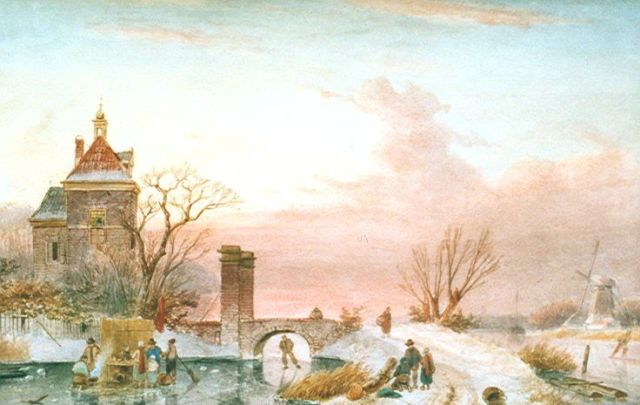 Charles Leickert | Skaters on a frozen river by a tower, watercolour on paper, 30.8 x 48.8 cm, signed l.r.