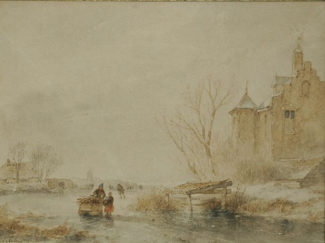 Andreas Schelfhout | Skaters on the ice by a fortified building, sepia and watercolour on paper, 20.0 x 27.0 cm, signed l.l.