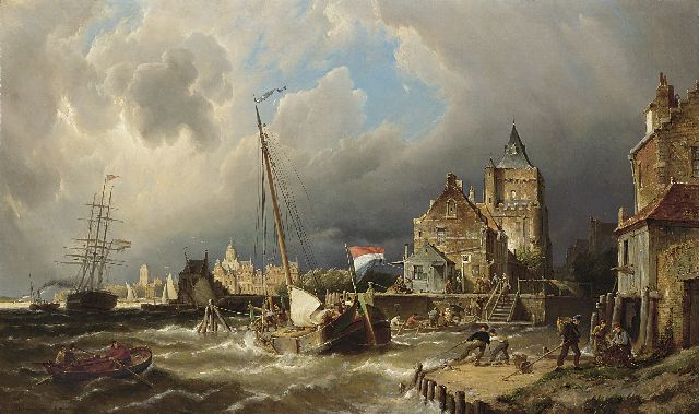 Pieter Cornelis Dommershuijzen | The dock entrance of Dordrecht, oil on canvas, 75.3 x 127.0 cm, signed l.l. and dated 1885