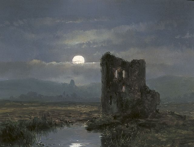Andreas Schelfhout | A ruin in a moonlit landscape, oil on panel, 17.3 x 22.0 cm, dated 1854 on the reverse