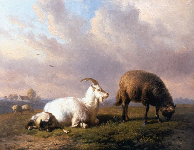 Louis Marie Dominique Romain Robbe | A goat, a sheep and a lamb in a landscape, oil on panel, 16.1 x 20.5 cm, signed l.l.