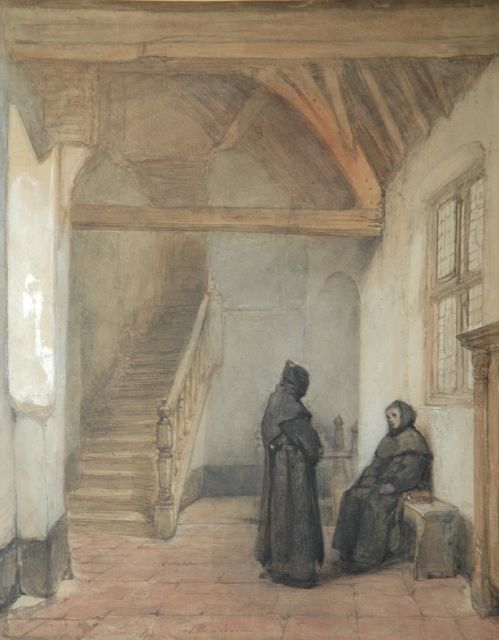 Johannes Bosboom | In the convent in Boxmeer, brush in black ink and watercolour on paper, 45.0 x 36.8 cm, signed l.c.