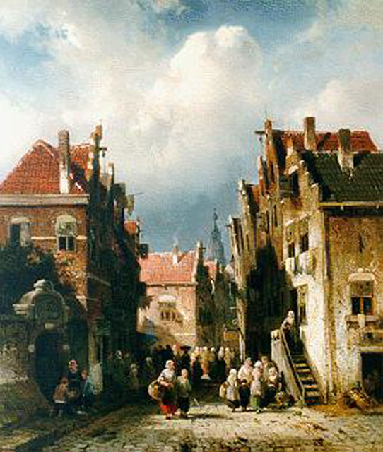 Charles Leickert | Daily activities in a Dutch town, oil on panel, 31.6 x 27.5 cm, signed l.l. and painted circa 1855