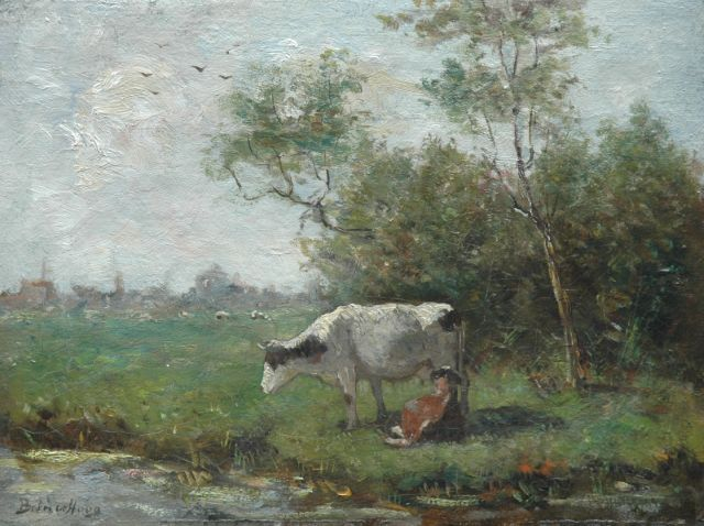 Bernard de Hoog | Cow and calf in a meadow, oil on canvas, 25.8 x 34.4 cm, signed l.l.