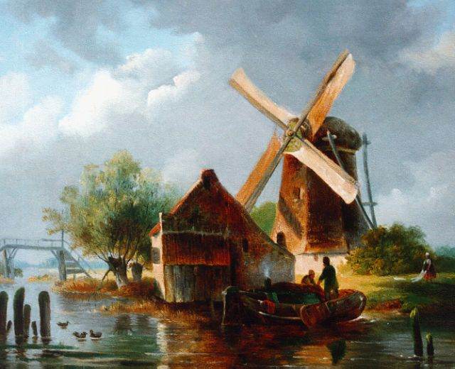 Charles Leickert | A summer landscape with windmill, oil on canvas, 21.2 x 26.5 cm