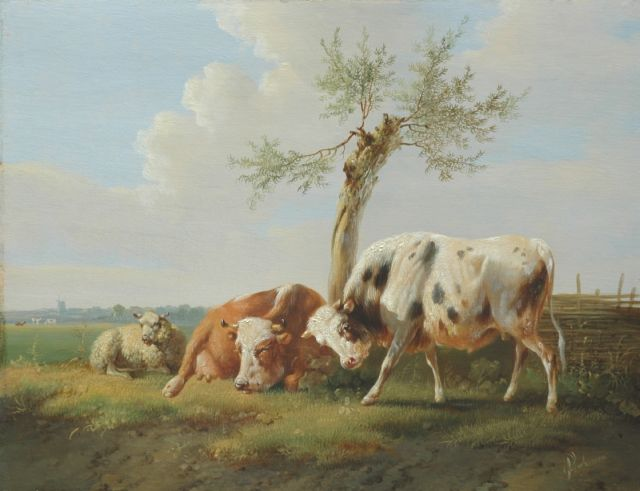 Albertus Verhoesen | A bull, a cow and a sheep in a summer landscape, oil on panel, 24.5 x 31.9 cm, signed l.r.