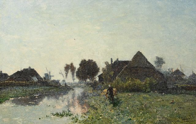 Paul Joseph Constantin Gabriel | Early morning near Veenendaal, oil on canvas, 66.0 x 101.5 cm, signed l.r. and painted ca. 1870