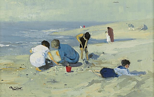 Chris Soer | Children playing at the beach, oil on canvas laid down on panel, 18.6 x 28.4 cm, signed l.l.