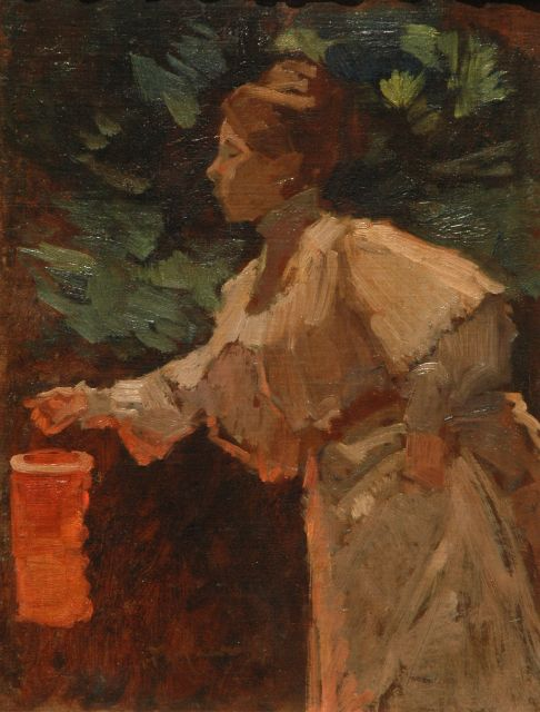 Marinus van der Maarel | Woman with a Chinese lantern, oil on canvas laid down on panel, 40.5 x 31.3 cm, signed l.l.