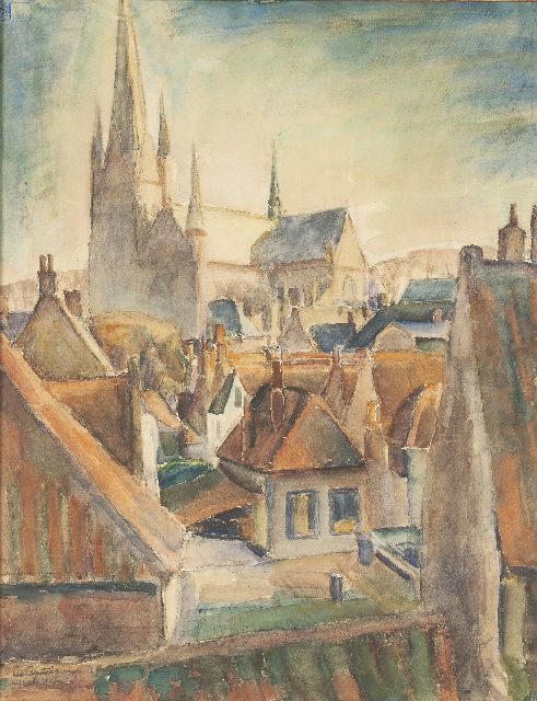 Leo Gestel | A view of Woerden, watercolour on paper, 65.5 x 50.0 cm, signed l.l. and dated 'Woerden 1917'