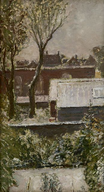 Carel Nicolaas Storm van 's-Gravesande | A view on roofs and gardens, oil on canvas laid down on board, 45.6 x 25.0 cm, signed l.r. with monogram and dated 3 nov. 19 (1919)