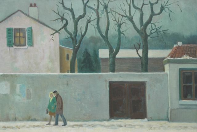 Jan Franken | Houses in the snow, oil on canvas, 44.9 x 67.0 cm, signed l.r.