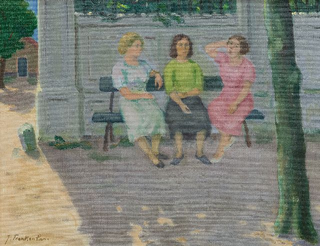 Jan Franken | Three women on a bench, oil on canvas, 35.4 x 45.2 cm, signed l.l.