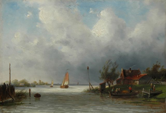 Charles Leickert | A river with ferry, oil on panel, 18.6 x 27.0 cm, signed l.r.