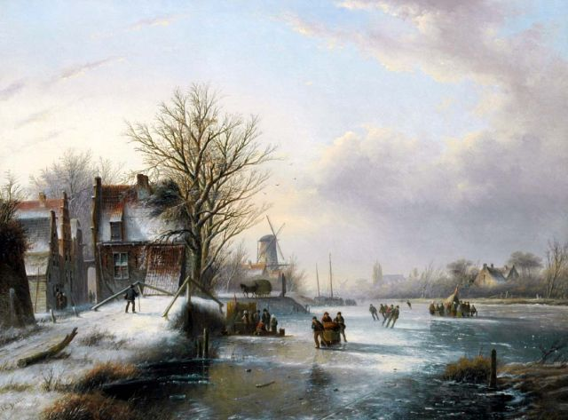 Jacob Jan Coenraad Spohler | Skaters on a frozen waterway, oil on canvas, 57.9 x 77.3 cm, signed l.l.