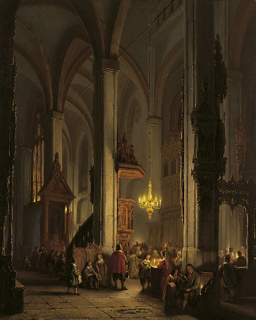 George Gillis Haanen | Evening Service in a Gothic Church, oil on panel, 74.9 x 60.2 cm, signed l.l.