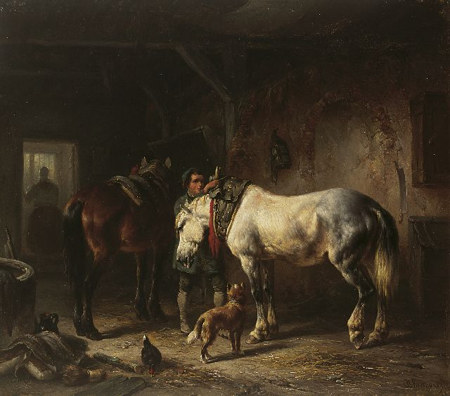 Wouterus Verschuur | Saddling the horses, oil on panel, 29.6 x 34.0 cm, signed l.r.