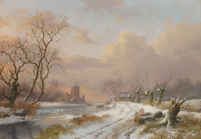 Frederik Marinus Kruseman | Wide river angle in winter, oil on panel, 27.9 x 40.2 cm