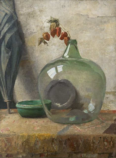 Jan Tiele | Still life with a green bottle, oil on canvas, 95.2 x 71.4 cm, signed l.l.