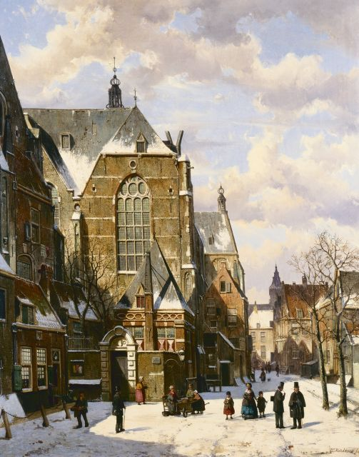 Willem Koekkoek | A snow-covered village square, oil on canvas, 84.0 x 66.0 cm, signed l.r. and dated '66