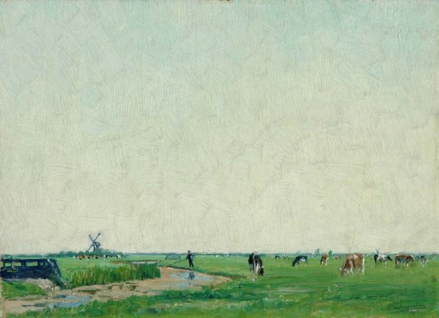 Frans van Tongerloo | A polder landscape with cattle, oil on panel, 25.1 x 35.2 cm, signed l.r. and painted 1915