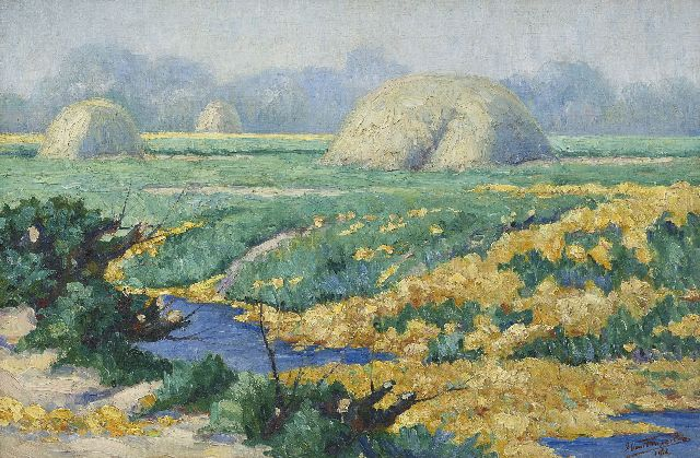 Tongerloo F. van | Bulb fields near canal, oil on canvas 40.5 x 60.5 cm, signed l.r. and dated  1916