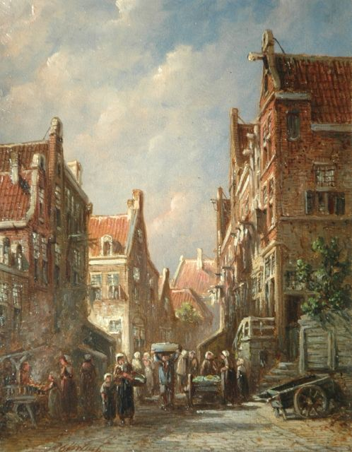 Petrus Gerardus Vertin | Market in a Dutch street, oil on panel, 19.4 x 14.9 cm, signed l.l.