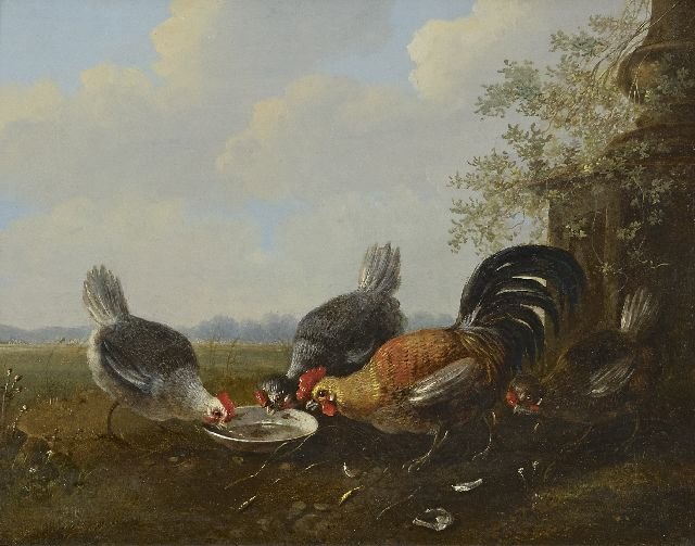 Albertus Verhoesen | Four chickens near a waterbowl, oil on panel, 22.4 x 27.8 cm
