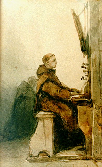 Johannes Bosboom | The organist, watercolour on paper, 13.8 x 8.4 cm, signed l.r.
