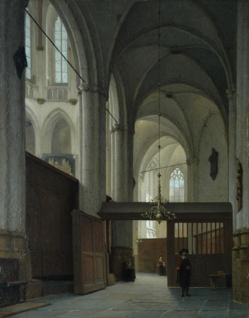 Jan Jacob Schenkel | Interior of the Nieuwe Kerk, Amsterdam, oil on canvas, 63.0 x 49.6 cm, signed l.l.