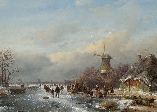 Andreas Schelfhout | A crowded winter landscape with skaters, oil on panel, 33.7 x 47.1 cm, signed l.r. and dated '58