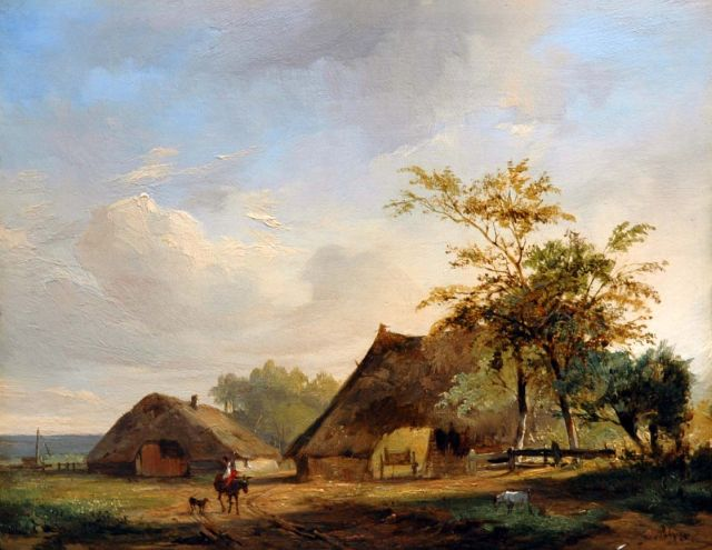 Jacobus Pelgrom | A farmstead, oil on panel, 19.9 x 25.4 cm, signed l.r.