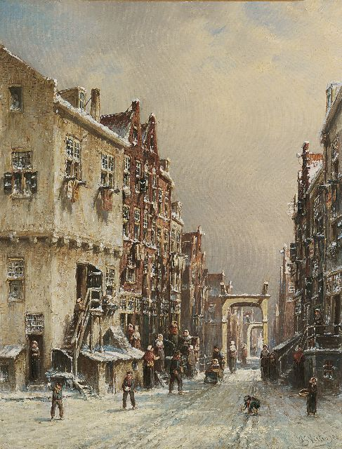 Petrus Gerardus Vertin | A Dutch town in winter, oil on canvas, 45.5 x 35.1 cm, signed l.r. and dated 88